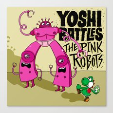 Yoshi Battles The Pink Robots Canvas Print