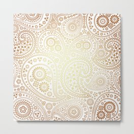 Metallic Bronze Sun Toned Paisley Pattern Metal Print