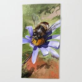 Bee on flower 18 Beach Towel