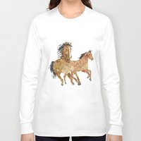 horses Long Sleeve T-shirts featuring Horses by Stag Prints