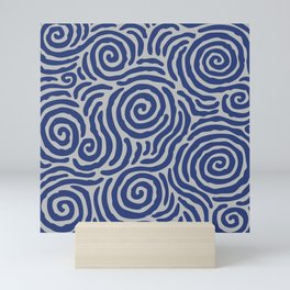 Ripple Effect Pattern Blue and Gray Mini Art Print