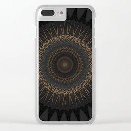 Black Marble and Bronze Modern Mandala Clear iPhone Case
