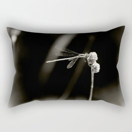 Dragonfly on Dried Plant Monochrome Grainy Smudge Rectangular Pillow