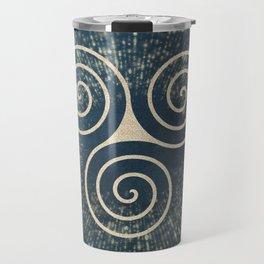 Triskelion Golden Three Spiral Celtic Symbol Travel Mug