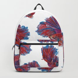 Ocean Theme- Red Blue Betta Fish Backpack
