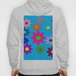 Flower Power - Blue Background - Fun Flowers - 60's Hippie Style Hoody