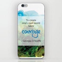 Inspirational Quote - Georgia O'Keeffe - Alcohol Ink iPhone Skin