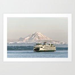 Seattle Bainbridge Island Ferry with Mount Rainier Art Print