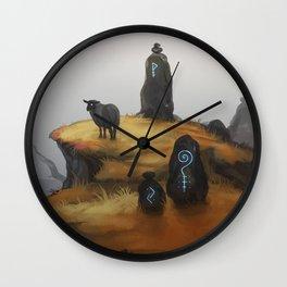Ruins - orange Wall Clock