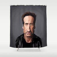 celebrity Shower Curtains featuring Celebrity Sunday ~ David Duchovny by rob art   illustration