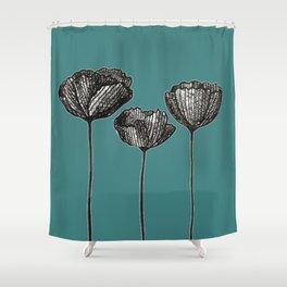 Black Line Poopies Shower Curtain