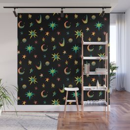 Colorful Watercolor Stars and Moons Pattern Wall Mural
