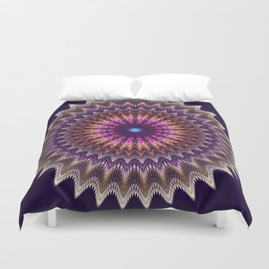Groovy starry mandala with tribal patterns Duvet Cover
