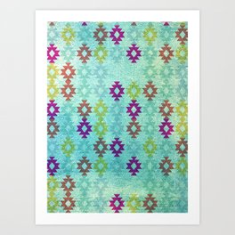 Santa Fe Dreams Geometric Aztec Colorful Design Art Print
