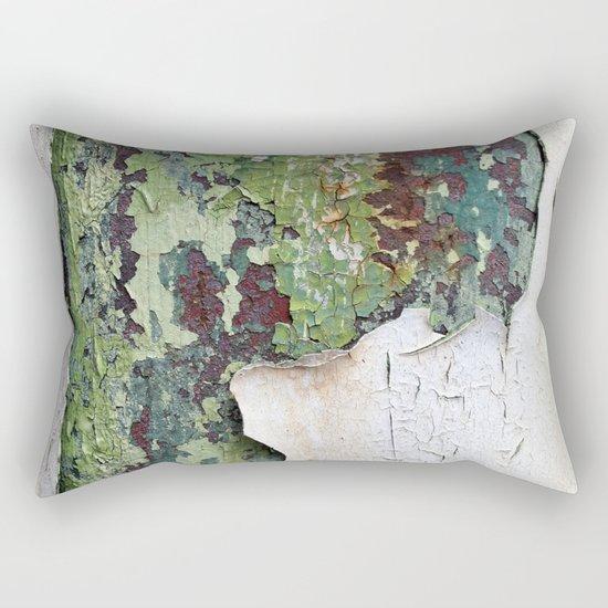 white green paint rust metal texture pattern Rectangular Pillow