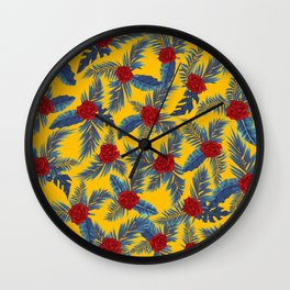 Abstract roses and leaves pattern Wall Clock