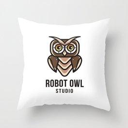 Robot Owl Studio Logo Template Throw Pillow
