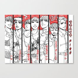 BTS - red, black & white Canvas Print