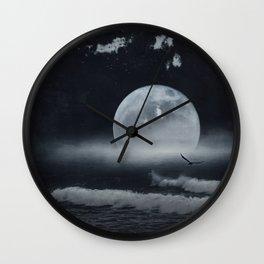 moon-lit ocean Wall Clock