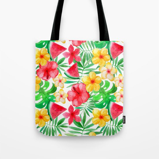 Happy Summer Life- Aloha Flowers and Melon - Pattern on #Society6 Tote Bag