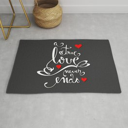 Valentine Love Calligraphy and Hearts V2 Rug