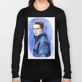 Portrait of GP driver Stoffel Vandoorne. Watercolor on paper. Long Sleeve T-shirt