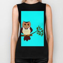 A Wise Ole Owl on a Branch Biker Tank