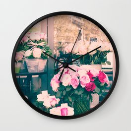 Paris flower market Wall Clock