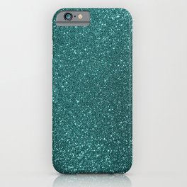 Aqua Teal Turquoise Glitter iPhone Case