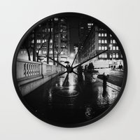 new york city Wall Clocks featuring New York City Noir by Vivienne Gucwa