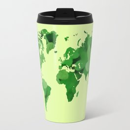 Green world map Travel Mug