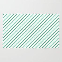 Diagonal Lines (Mint/White) Rug