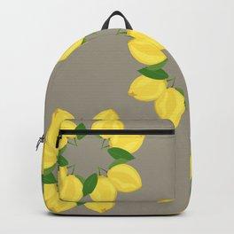 Lemon Pattern Grey Backpack