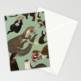 Otters of the World pattern Stationery Cards