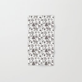 Fancy animals in black and white Hand & Bath Towel