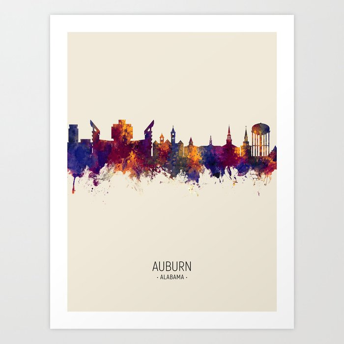 Auburn Alabama Skyline Art Print by artpause