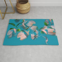 Dogwood Tree Flowers (aqua background) Rug
