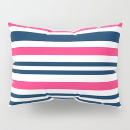 Horizontal , striped , pink , blue , white Pillow Sham