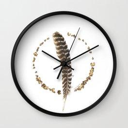 turkey feather, beechnuts, beechnut hulls... nature madala Wall Clock
