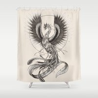 phoenix Shower Curtains featuring Phoenix by Skollart
