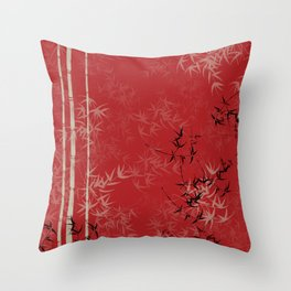 Red, Tan and Black Bamboo Design Throw Pillow