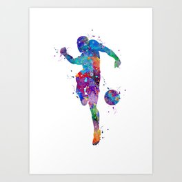 Boy Soccer Player Sports Gift Colorful Blue Purple Watercolor Art Football Player Gift Art Print