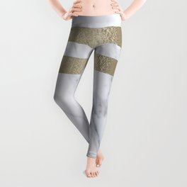 Smokey marble and gilded striped accents Leggings