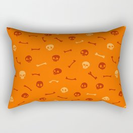 Cartoon Skulls on Orange Background Seamless Pattern Rectangular Pillow