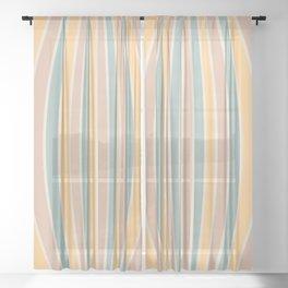 Warped Stripes - Vintage Pastel Colors Sheer Curtain