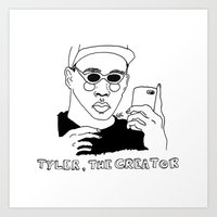 tyler the creator Art Prints featuring Tyler, The Creator by ☿ cactei ☿