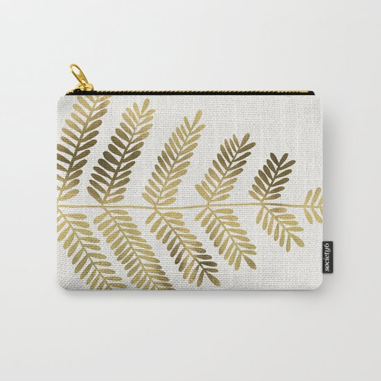 Gold Leaflets Carry-All Pouch
