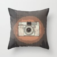 vintage camera Throw Pillows featuring Camera by Mr and Mrs Quirynen