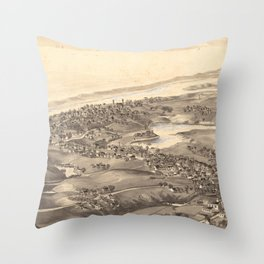 Vintage Pictorial Map of Chatham Massachusetts (1894) Throw Pillow