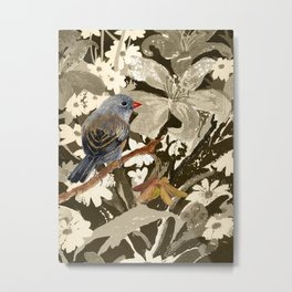 Bird Junco with Lillies Metal Print